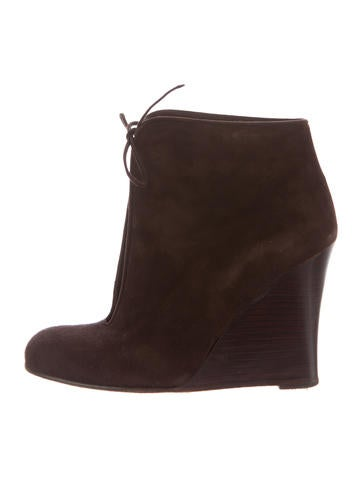 Christian Louboutin Suede Wedge Booties None
