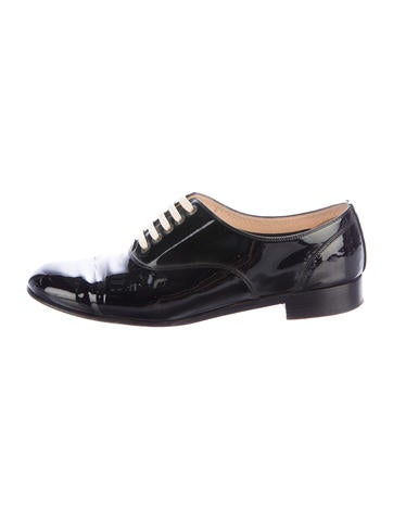 Christian Louboutin Patent Leather Round-Toe Oxfords None