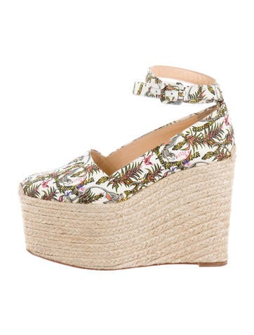 Christian Louboutin Canvas Platform Espadrille Wedges None