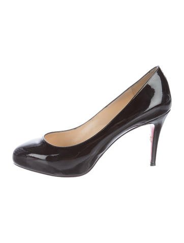 Christian Louboutin Round-Toe Patent Leather Pumps None