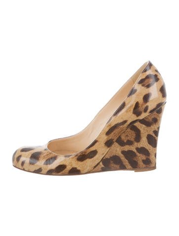 Christian Louboutin Leopard Print Round-Toe Wedges None