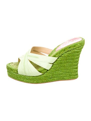 Christian Louboutin Woven Platform Wedges None