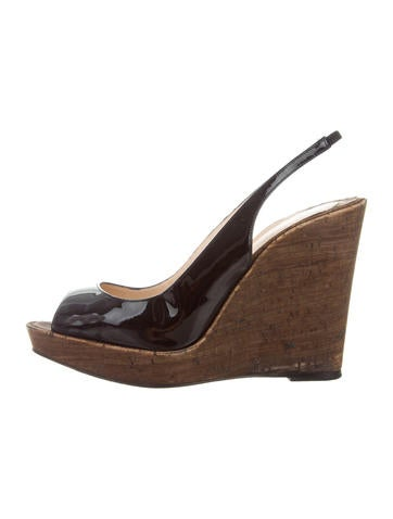 Christian Louboutin Patent Leather Slingback Wedges None