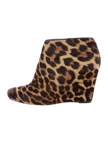 Christian Louboutin Ponyhair Wedge Booties None