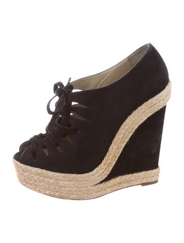 Christian Louboutin Peep-Toe Suede Wedges None