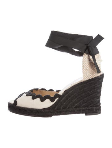 Christian Louboutin Woven Espadrille Wedge Pumps None
