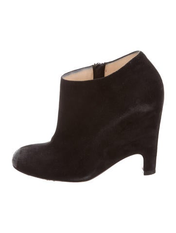 Christian Louboutin Suede Round-Toe Booties None