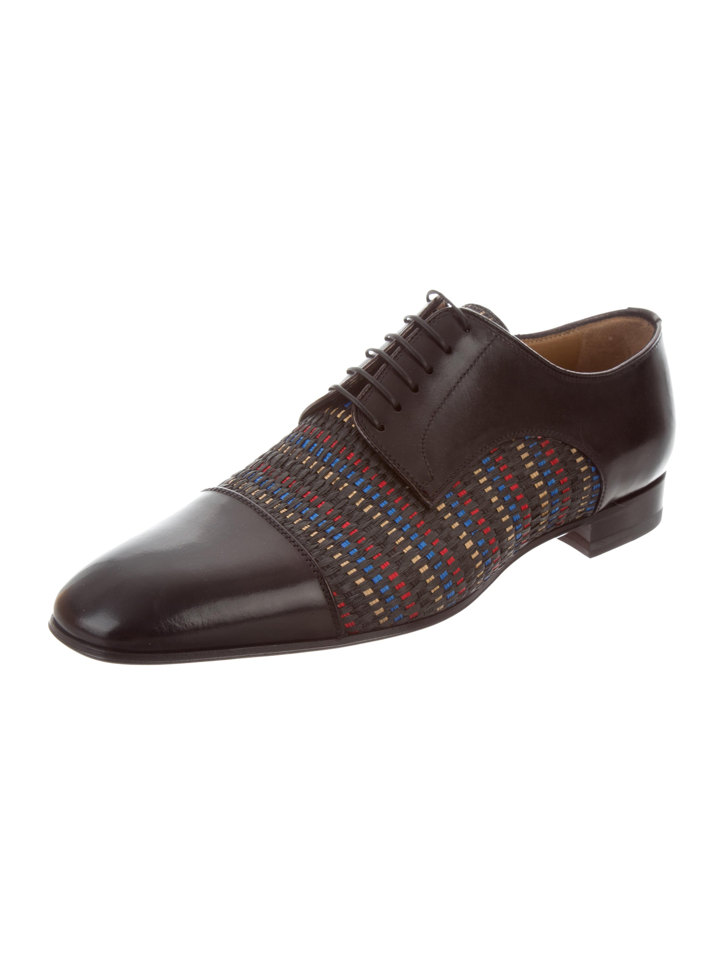 christian louboutin woven leather derby shoes w tags