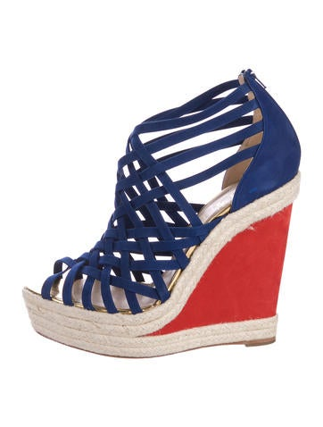 Christian Louboutin Suede Espadrille Wedge Sandals None