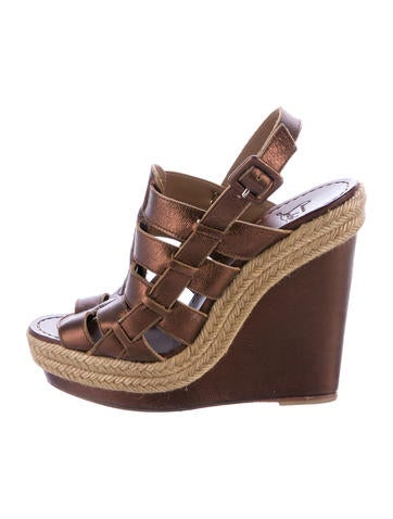 Christian Louboutin Metallic Cage Wedges None