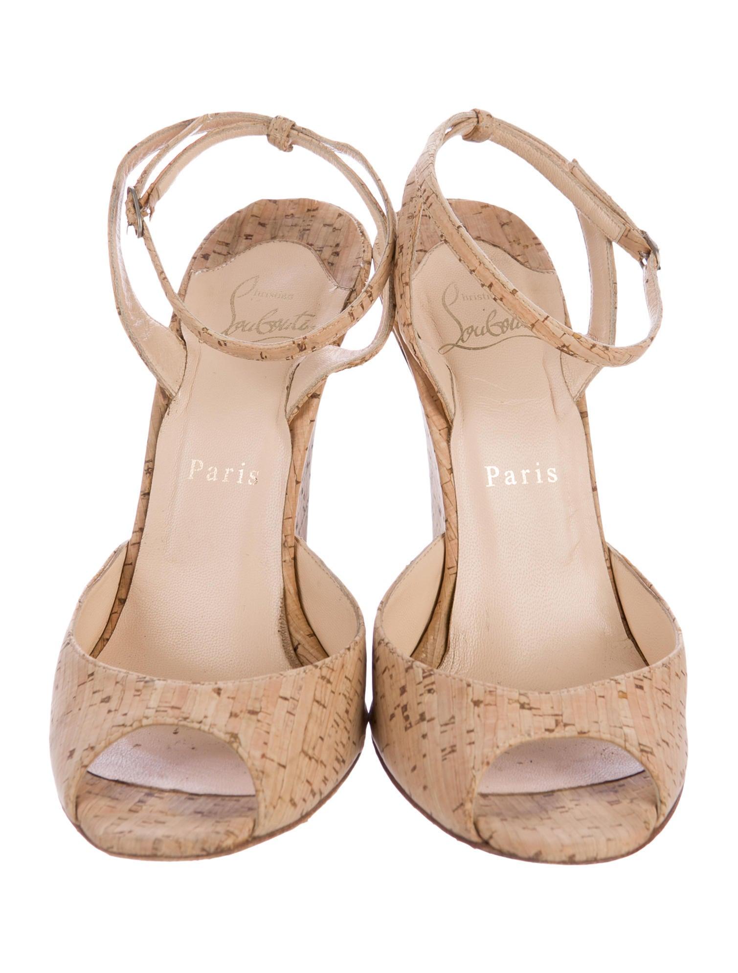 Christian Louboutin Cork Peep Toe Wedge Sandals Shoes