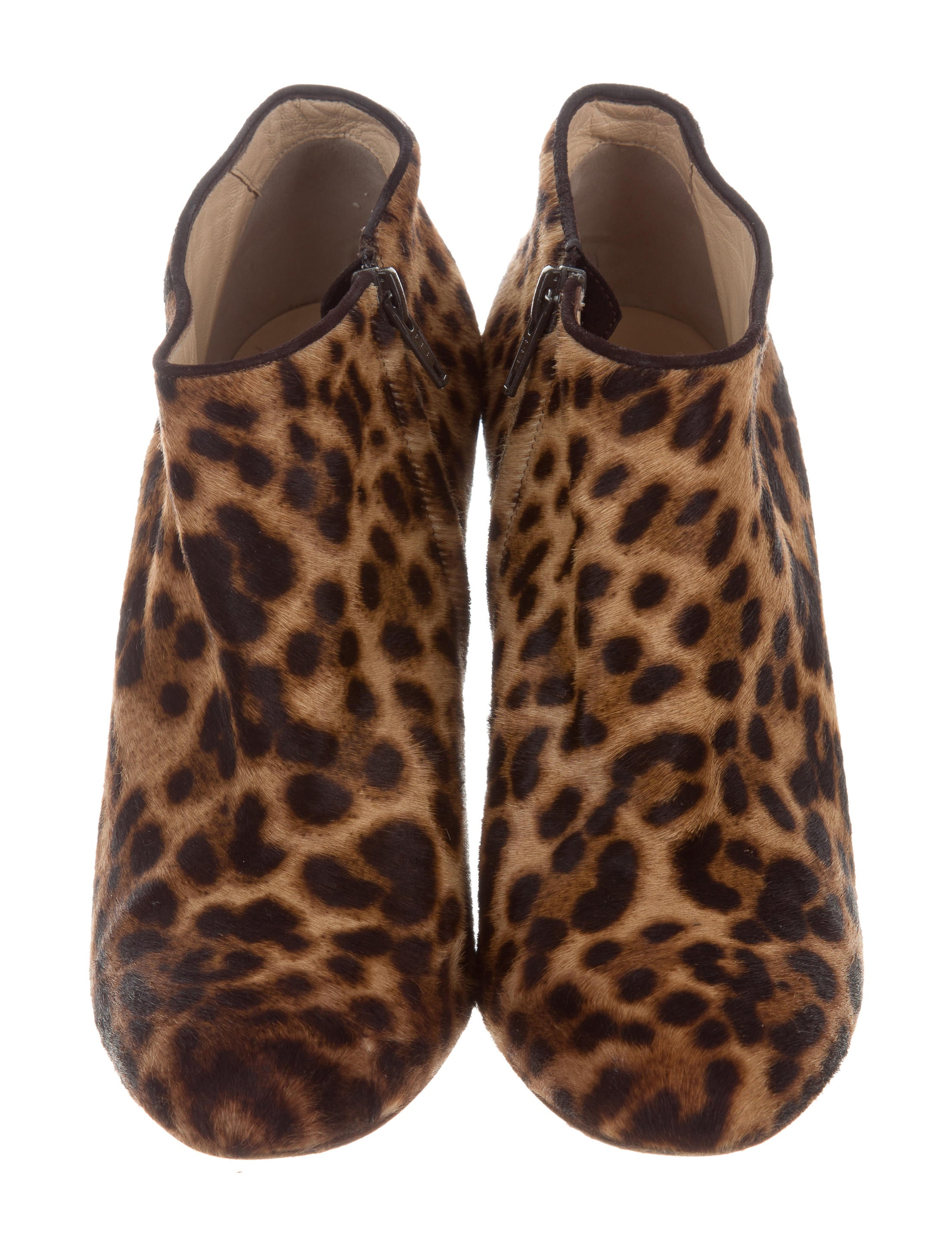 Christian Louboutin Ponyhair Leopard Print Booties Shoes