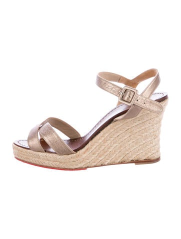 Christian Louboutin Metallic Espadrille Wedges None