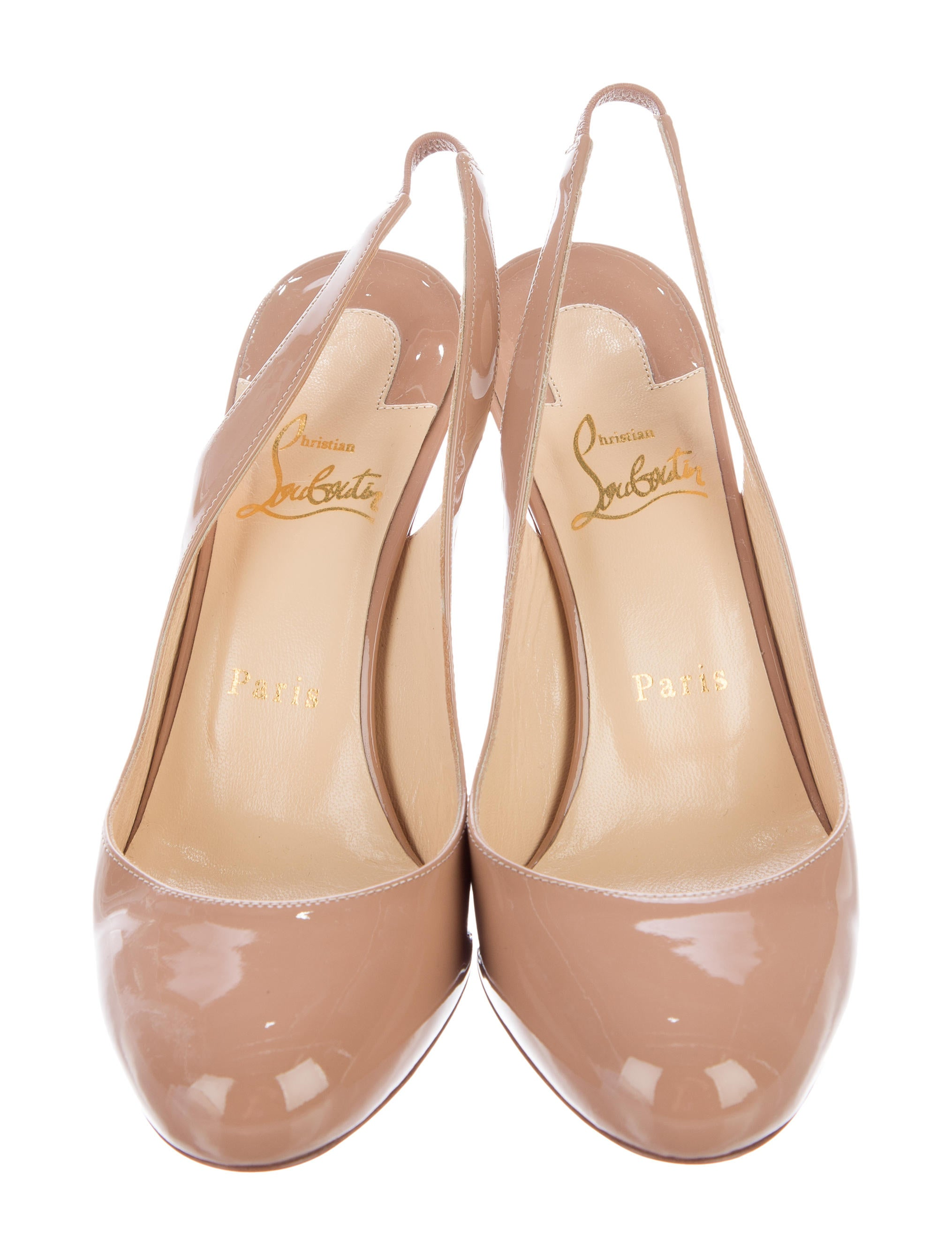 Christian Louboutin Patent Leather Slingback Pumps Shoes