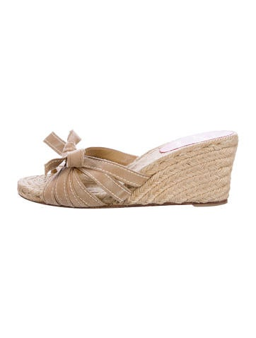 Christian Louboutin Bow-Embellished Wedge Espadrilles None