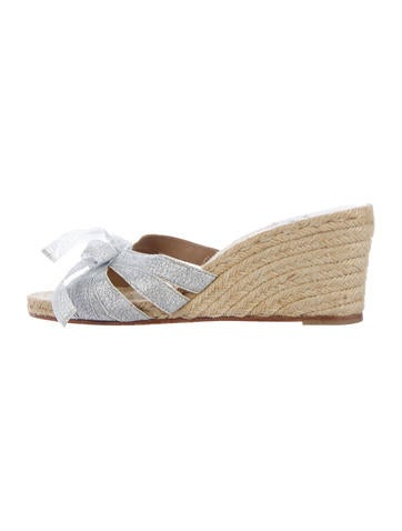 Christian Louboutin Glitter Bow Espadrille Wedges None
