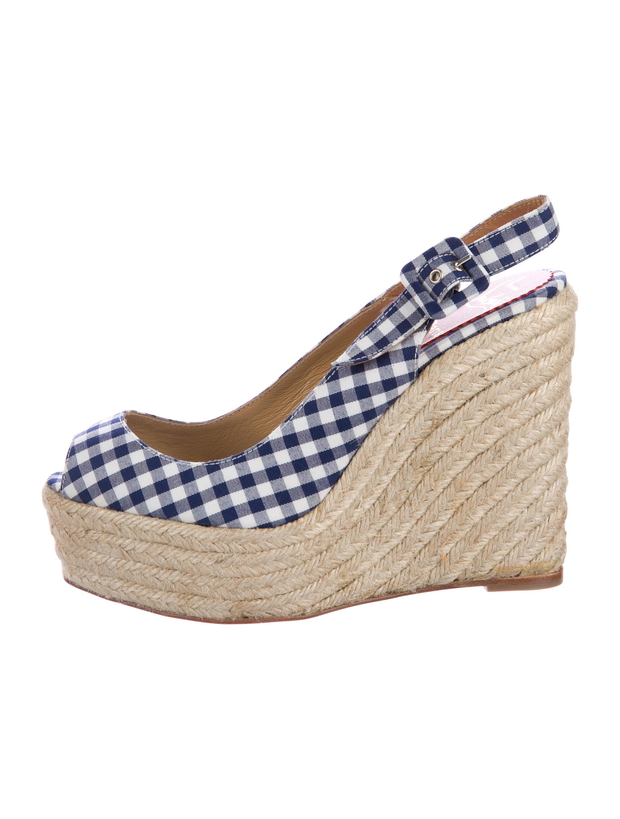 christian louboutin gingham slingback espadrilles shoes