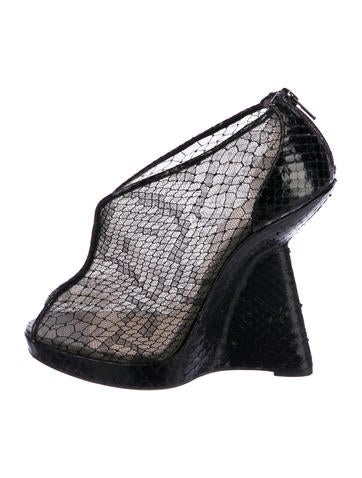 Christian Louboutin Janet Python Wedge Booties None