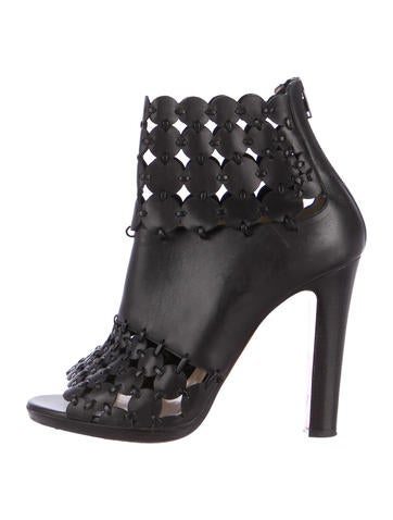 Christian Louboutin Embellished Peep-Toe Ankle Boots None