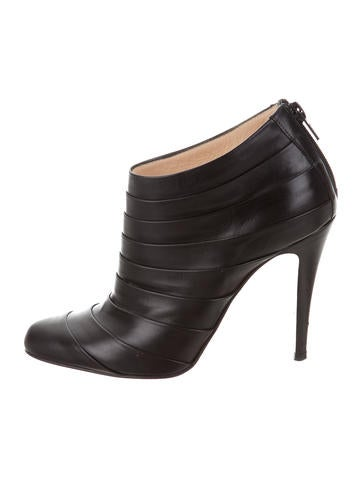 Christian Louboutin Leather Round-Toe Booties None