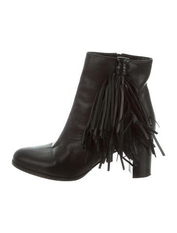 Christian Louboutin Fringe Round-Toe Booties None