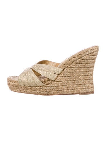 Christian Louboutin Glitter Espadrille Wedges None