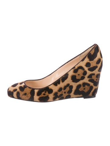 Christian Louboutin Leopard Print Ponyhair Wedges None