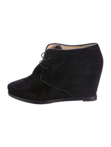 Christian Louboutin Suede Wedged Ankle Boots None