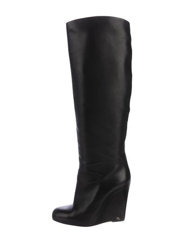 Christian Louboutin Leather Wedge Knee-High Boots None