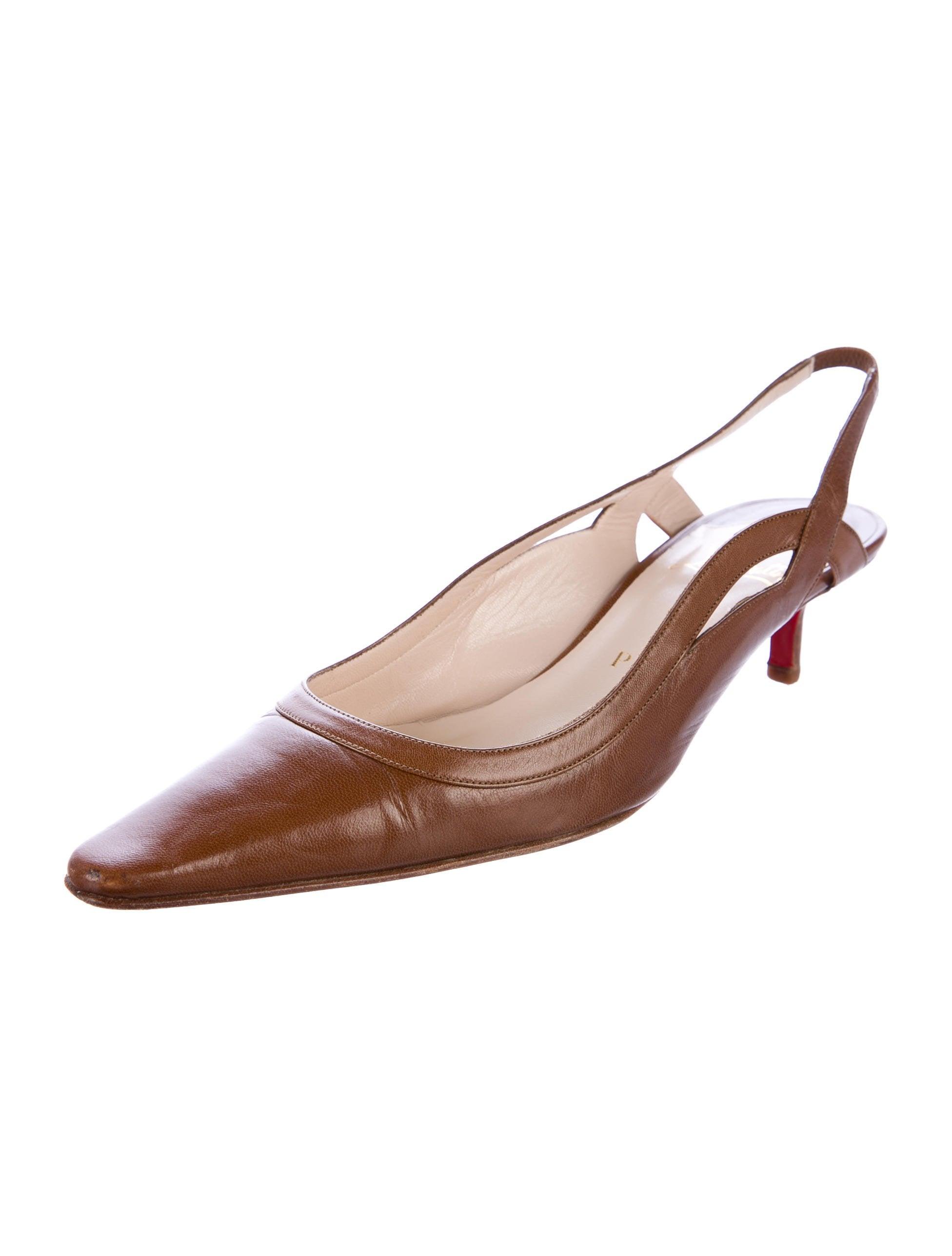 Christian Louboutin Leather Slingback Pumps Shoes