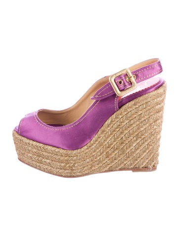 Christian Louboutin Satin Espadrille Wedges None