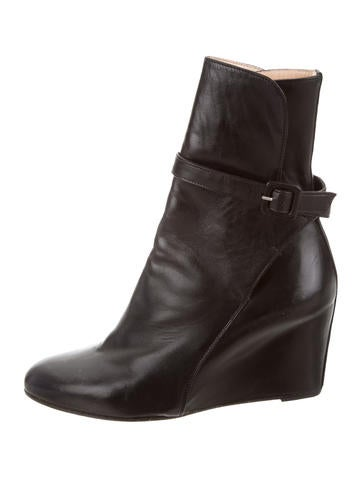 Christian Louboutin Leather Wedge Ankle Boots None