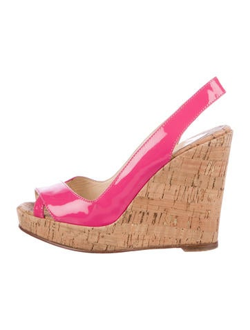 Christian Louboutin Patent Leather Wedge Sandals None