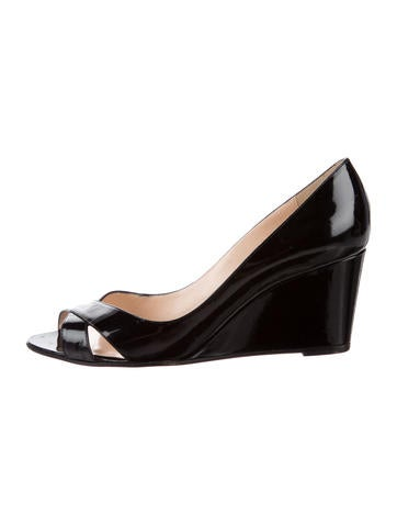 Christian Louboutin Patent Leather Peep-Toe Wedges None