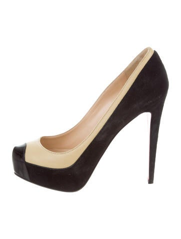Christian Louboutin Suede Round-Toe Pumps None
