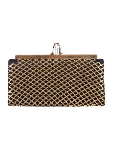 Christian Louboutin Leather-Trimmed Satin Frame Clutch Bag None