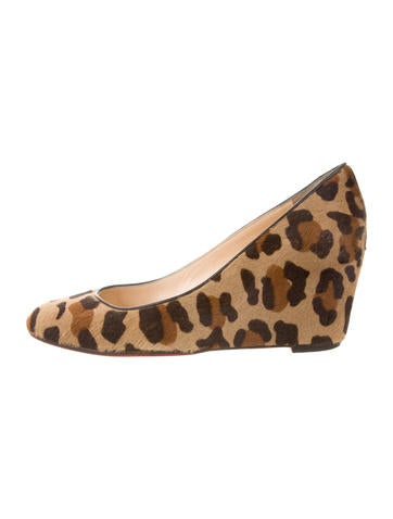 Christian Louboutin Ponyhair Leopard Wedges None