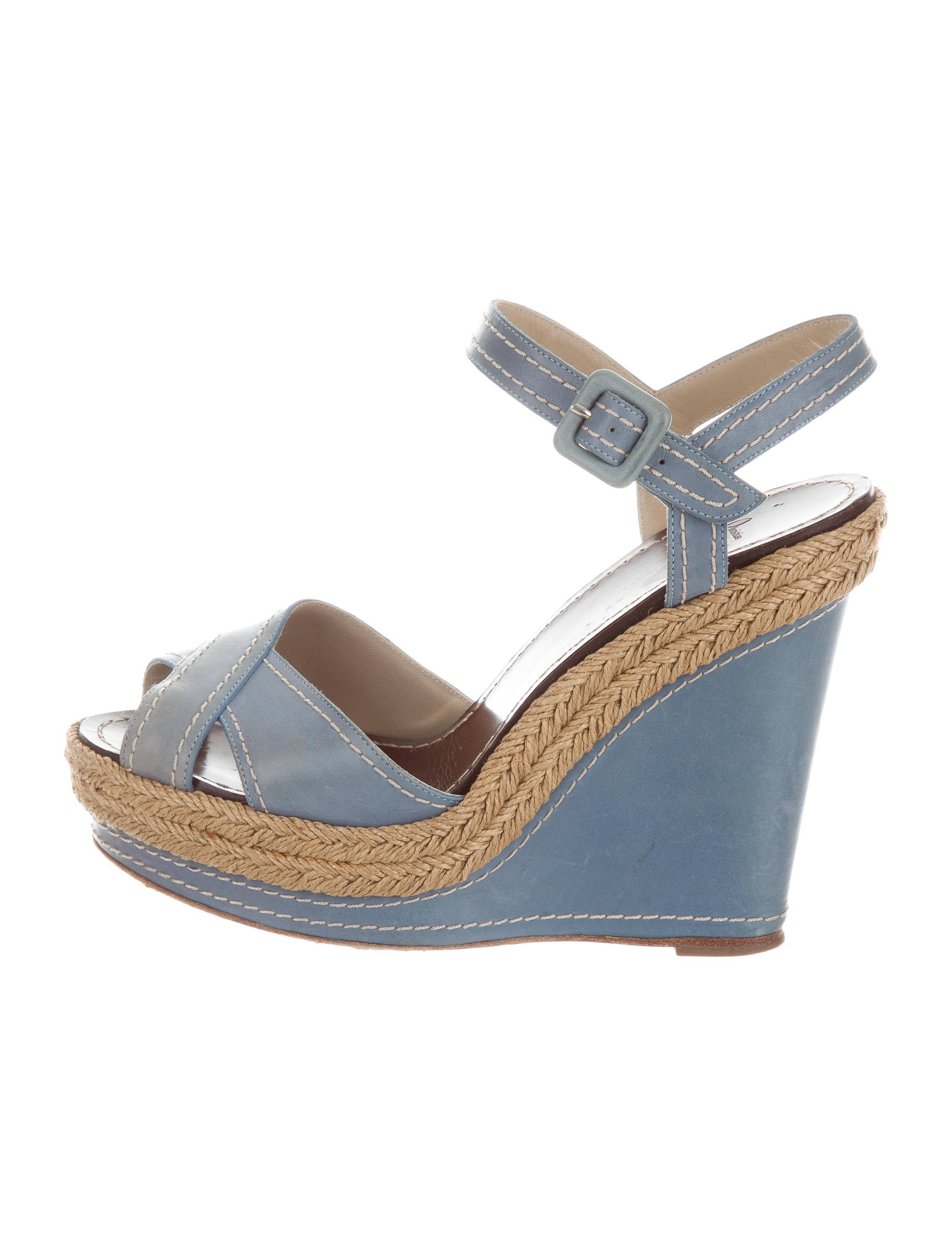 Christian Louboutin Leather Crossover Wedges sale professional 83V4C4