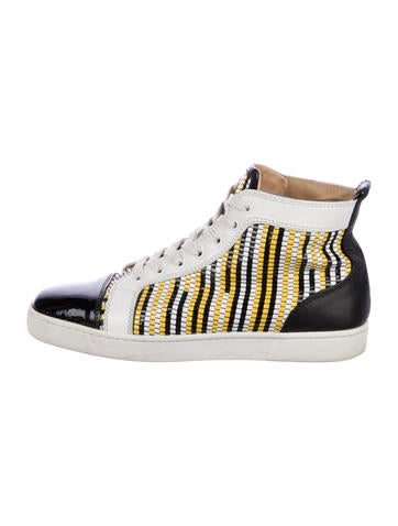 Christian Louboutin Patent Leather High-Top Sneakers None