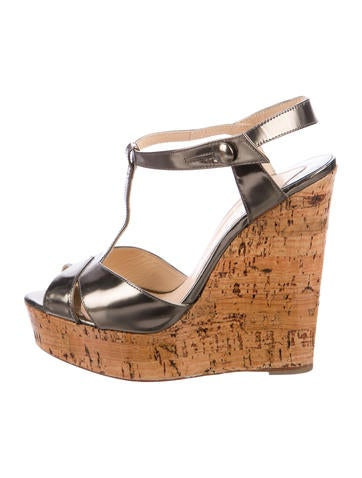 Christian Louboutin Leather Peep-Toe Wedge Sandals None
