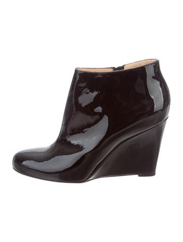 Christian Louboutin Patent Leather Wedge Booties None