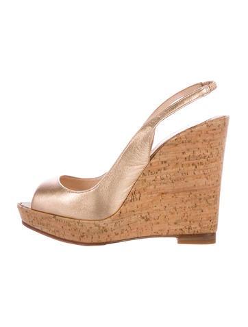 Christian Louboutin Peep-Toe Wedge Sandals None