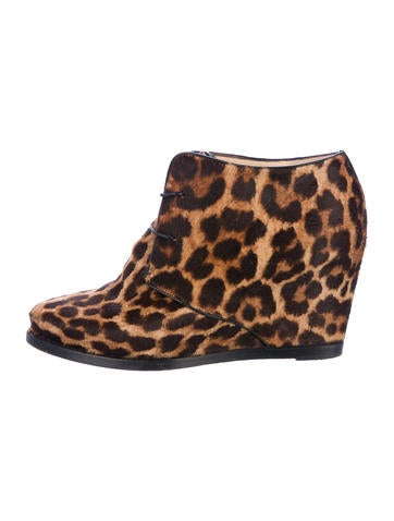 Christian Louboutin Ponyhair Round-Toe Booties None