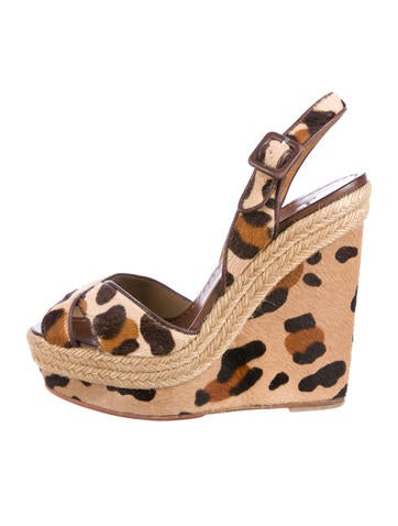 Christian Louboutin Ponyhair Slingback Wedges None