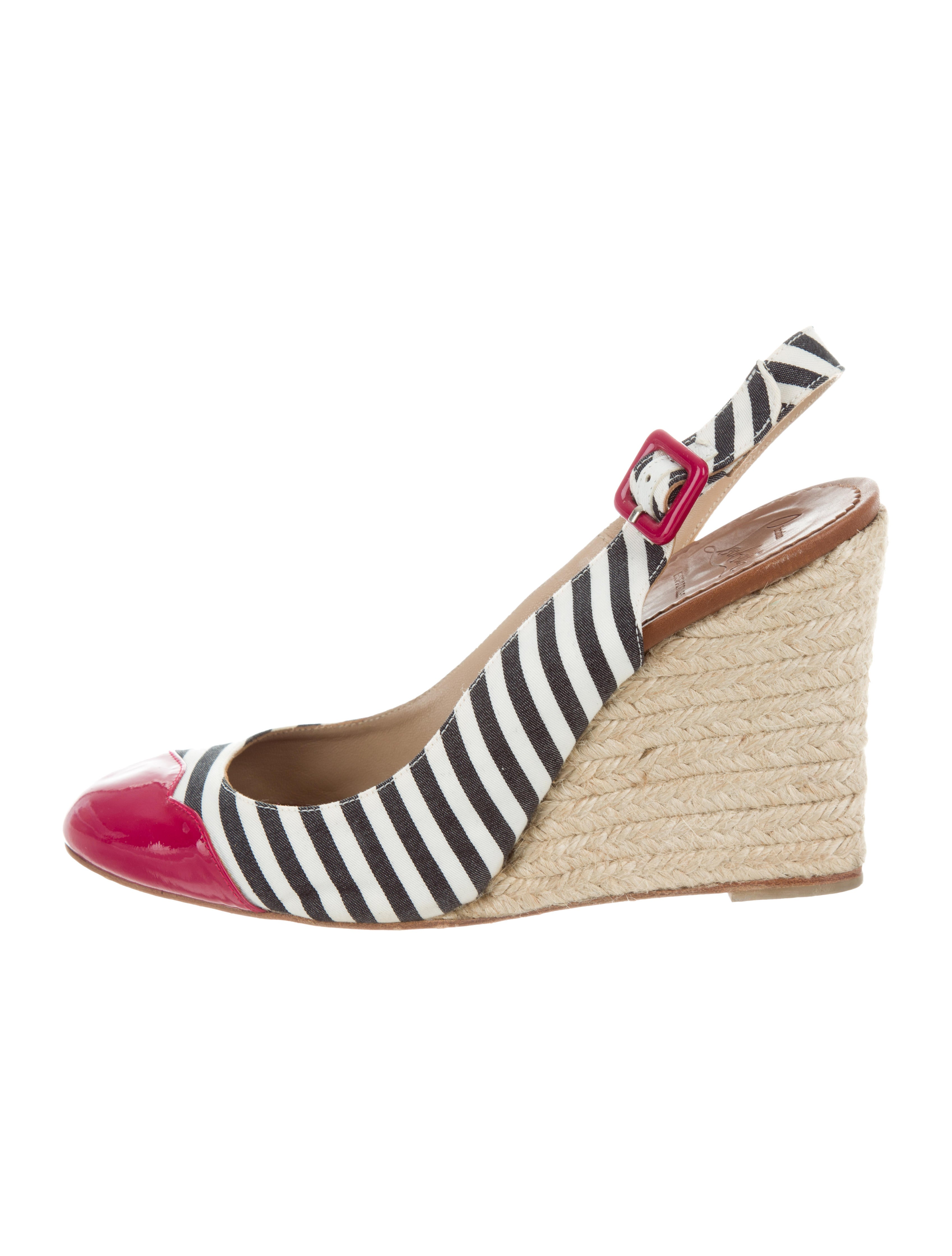 for nice cheap price cheap sale 2014 unisex Christian Louboutin Striped Slingback Wedges newest for sale latest collections sale online LJEQmdW