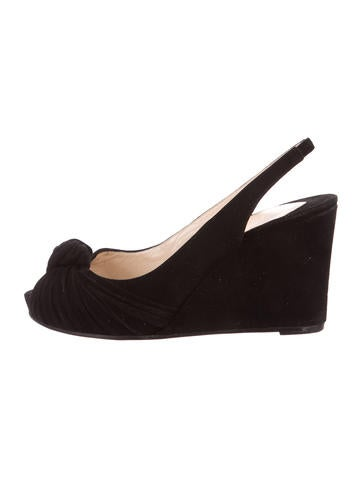 Christian Louboutin Suede Slingback Wedges None