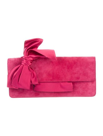 Christian Louboutin Suede Bow Clutch None