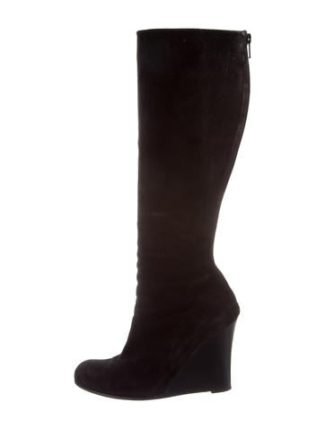 Christian Louboutin Suede Wedge Boots None