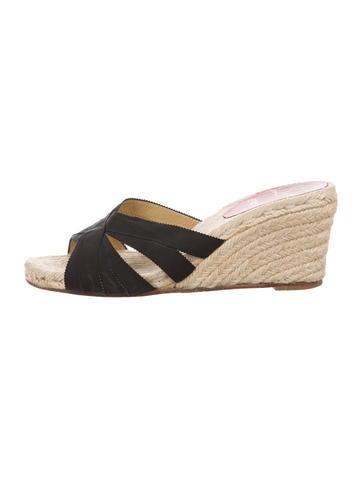 Christian Louboutin Espadrille Wedge Slide Sandals None