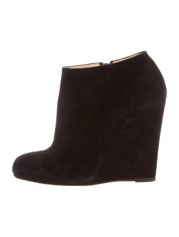 Christian Louboutin Suede Wedge Ankle Boots None